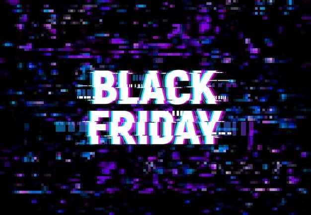 Sfondo glitch venerdì nero, poster pubblicitario vettoriale