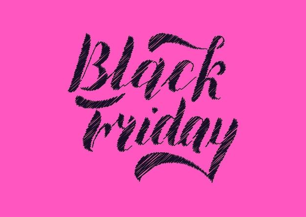 Venerdì nero scritte a mano, isolate su sfondo rosa. disegno di tipo vintage di vendita. illustrazione di calligrafia di vettore.