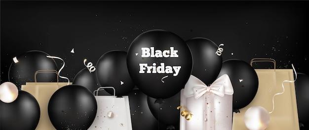 Copertina orizzontale del black friday con palloncini neri, regali, banner di decorazioni natalizie