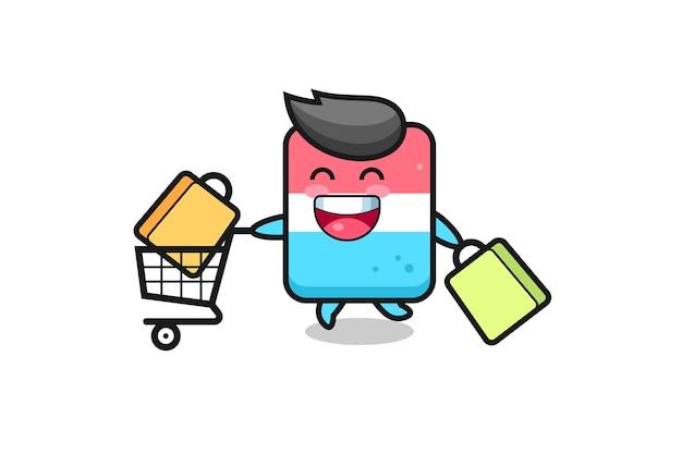Illustrazione del black friday con simpatica mascotte per gomma, design in stile carino per t-shirt, adesivo, elemento logo