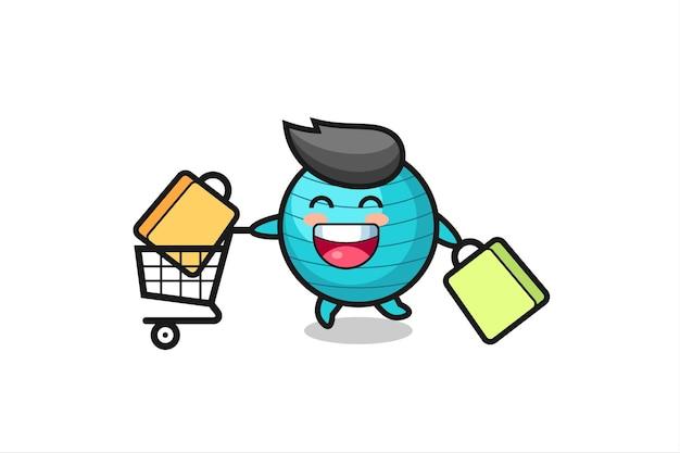 Illustrazione del black friday con simpatica mascotte palla da ginnastica, design in stile carino per t-shirt, adesivo, elemento logo