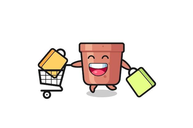 Illustrazione del black friday con simpatica mascotte vaso di fiori, design in stile carino per t-shirt, adesivo, elemento logo