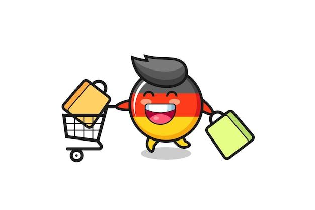 Illustrazione del black friday con simpatica mascotte del distintivo della bandiera della germania, design in stile carino per maglietta, adesivo, elemento logo