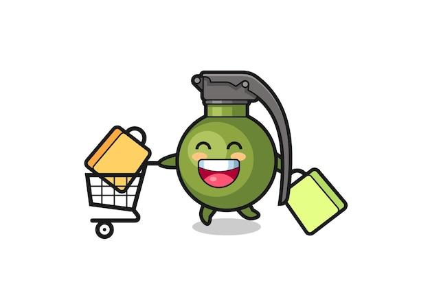 Illustrazione del black friday con simpatica mascotte granata, design in stile carino per maglietta, adesivo, elemento logo