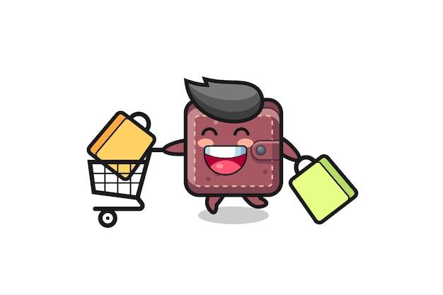 Illustrazione del black friday con simpatica mascotte portafoglio in pelle, design in stile carino per t-shirt, adesivo, elemento logo