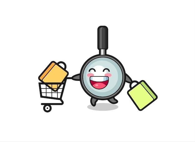 Illustrazione del black friday con simpatica mascotte con lente d'ingrandimento, design in stile carino per maglietta, adesivo, elemento logo