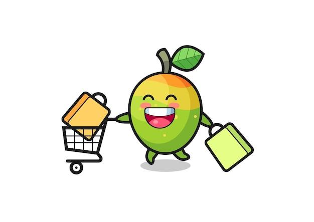 Illustrazione del black friday con simpatica mascotte di mango, design in stile carino per t-shirt, adesivo, elemento logo