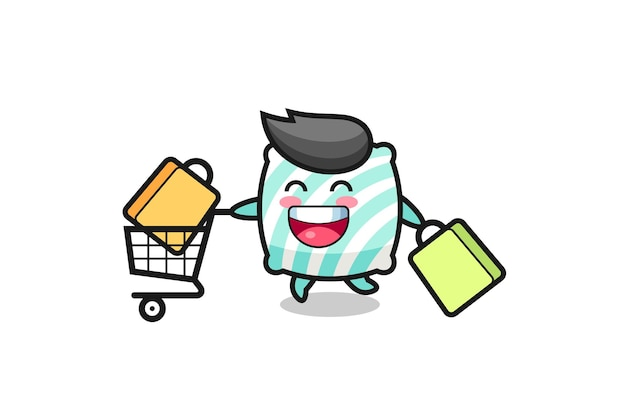 Illustrazione del black friday con simpatica mascotte cuscino, design in stile carino per t-shirt, adesivo, elemento logo