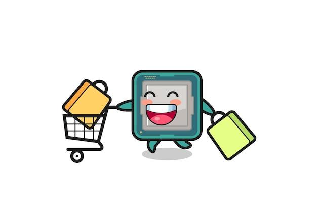 Illustrazione del black friday con simpatica mascotte del processore, design in stile carino per t-shirt, adesivo, elemento logo