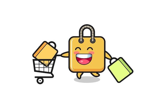 Illustrazione del black friday con simpatica mascotte della borsa della spesa, design in stile carino per t-shirt, adesivo, elemento logo