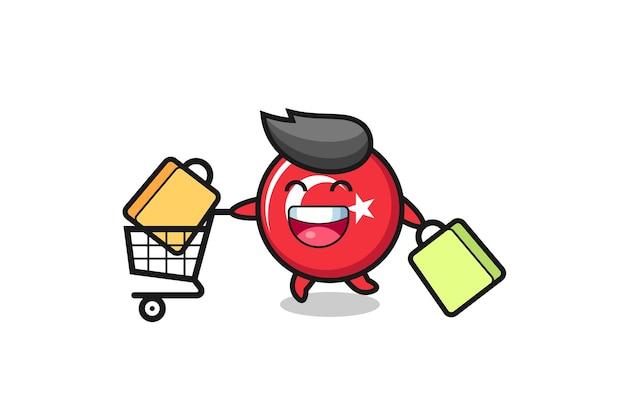 Illustrazione del black friday con simpatica mascotte del distintivo della bandiera del tacchino, design in stile carino per maglietta, adesivo, elemento logo