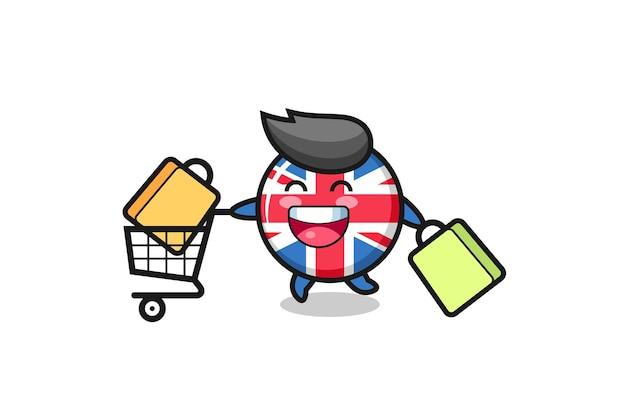 Illustrazione del black friday con simpatica mascotte del distintivo della bandiera del regno unito, design in stile carino per maglietta, adesivo, elemento logo