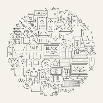 Cerchio delle icone della linea del venerdì nero. illustrazione vettoriale di oggetti di contorno di vendita cyber monday.
