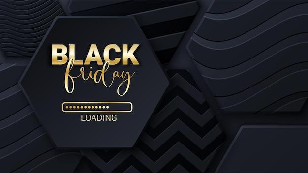 Modello di progettazione del manifesto dell'insegna dello sfondo della barra di caricamento del black friday vendita del venerdì nero