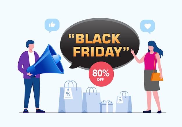 Illustrazione vettoriale piatta del concetto di marketing del black friday per la pagina di destinazione del banner