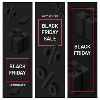 Banner minimalisti del black friday. scatole regalo nere con nastri con icone di percentuale e dollaro. offerta speciale fino al 90% di sconto, promozione del negozio, illustrazione vettoriale della pubblicità del negozio