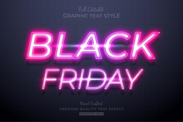 Effetto stile testo modificabile al neon del black friday