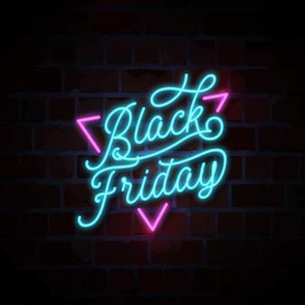 Venerdì nero illustrazione insegna al neon