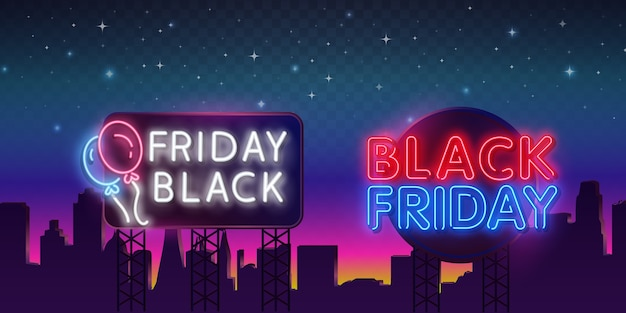 Insegna al neon di black friday isolata