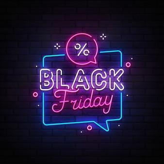 Insegna al neon del black friday. banner di vendita. insegna al neon, insegna luminosa, insegna luminosa