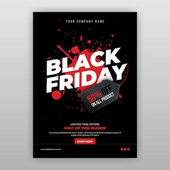 Modello di volantino offerta venerdì nero Vettore Premium