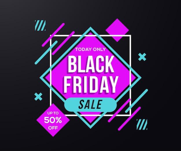 Black friday offre banner con borsa della spesa