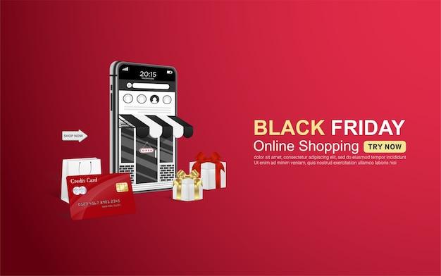 Banner di shopping online venerdì nero sul cellulare con carta di credito.