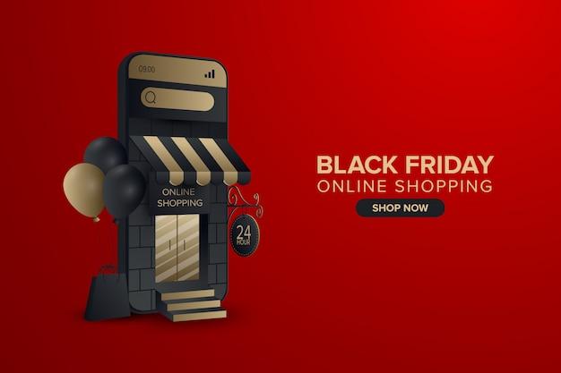 Banner dello shopping online del venerdì nero sul cellulare
