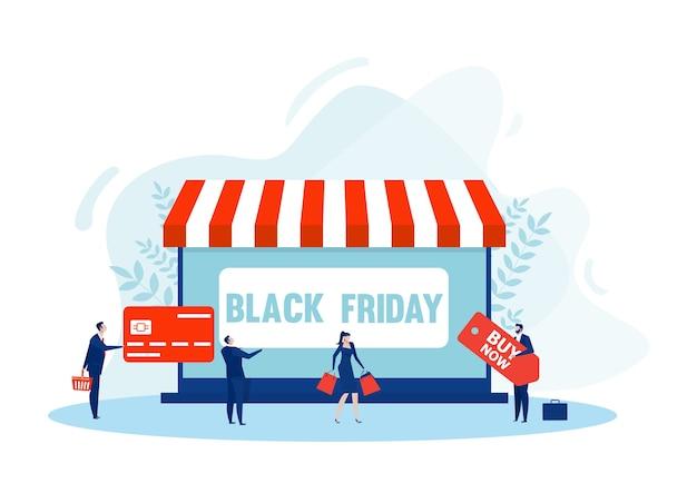 Shopping online venerdì nero. negozio di tablet, e-commerce, acquisto di borse e-commerce online, acquisto di marketing,