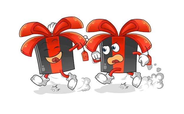 Black friday gioca a cartone animato di inseguimento. mascotte dei cartoni animati