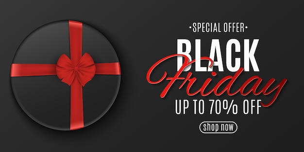 Poster del venerdì nero. scatola scura con nastro rosso.