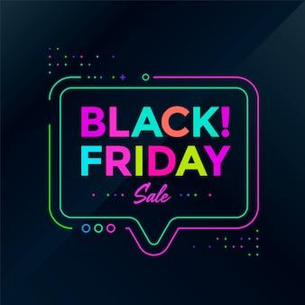 Design del poster del black friday. banner di sconto vendita al neon