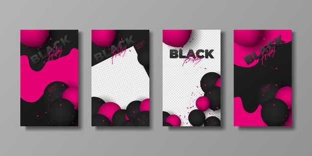 Set di banner di vendita del poster del black friday