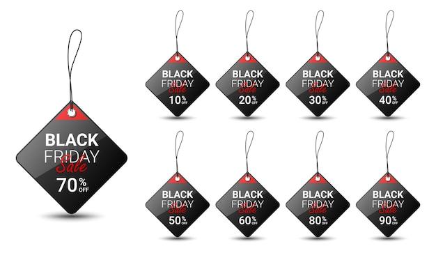 Modello di progettazione di cartellino del prezzo del black friday per la promozione