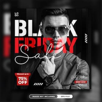 Modello di banner quadrato post instagram promo venerdì nero