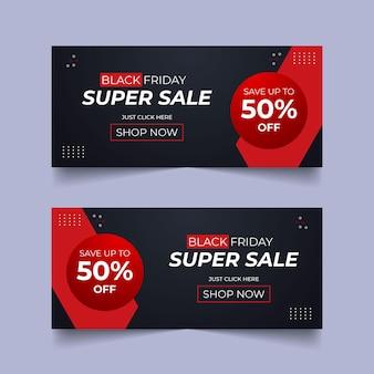 Banner promozionale del black friday sui social media super vendita offerta media post design banner del black friday