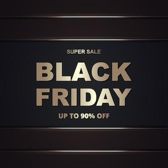 Modello di banner dorato di vendita di promozione del black friday. sfondo oro scuro di lusso venerdì nero.