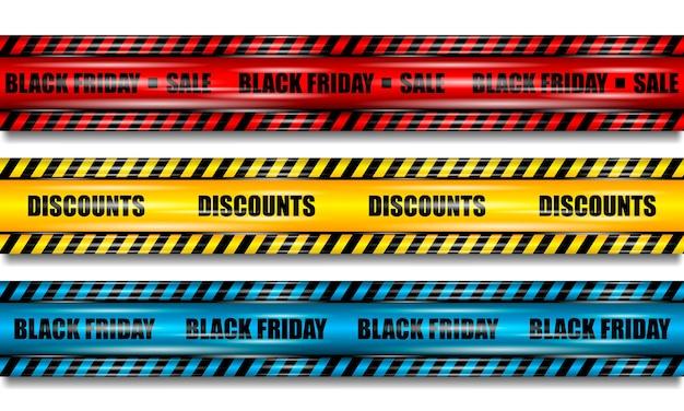 Nastri del black friday, nastro rosso, giallo e blu realistico con riflessi su sfondo bianco isolato