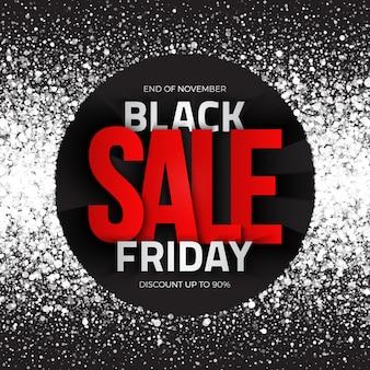 Fondo astratto di vendita di black friday con testo tipografico 3d