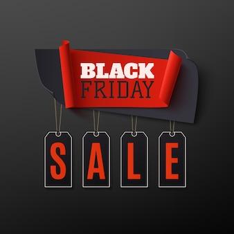 Vendita di venerdì nero, banner astratto su sfondo nero. modello di progettazione per brochure, poster o flyer.