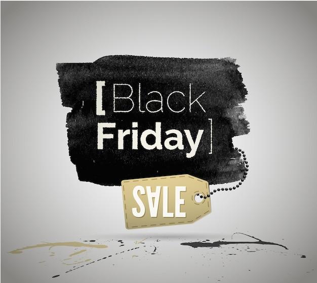 Illustrazione vettoriale di black friday vendita annuncio pubblicitario con tipografia. annuncio di acquisto a basso prezzo. conserva l'etichetta di promozione delle offerte speciali, il design del tag