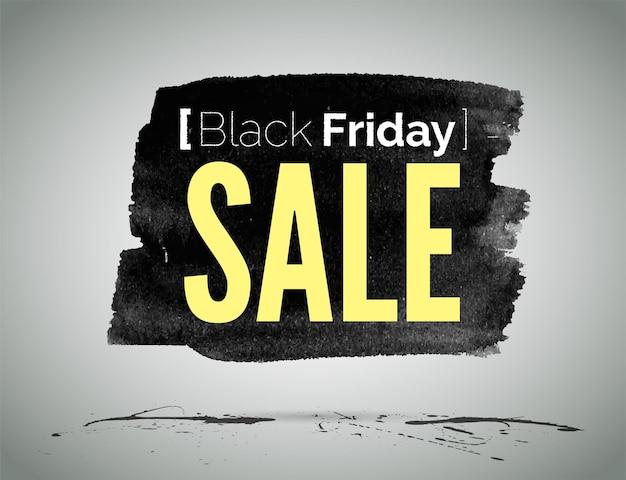 Modello di etichetta vettoriale di black friday vendita annuncio pubblicitario. shopping tipografia di promozione a basso prezzo. annuncio di offerte speciali e sconti del negozio su striscio di inchiostro nero