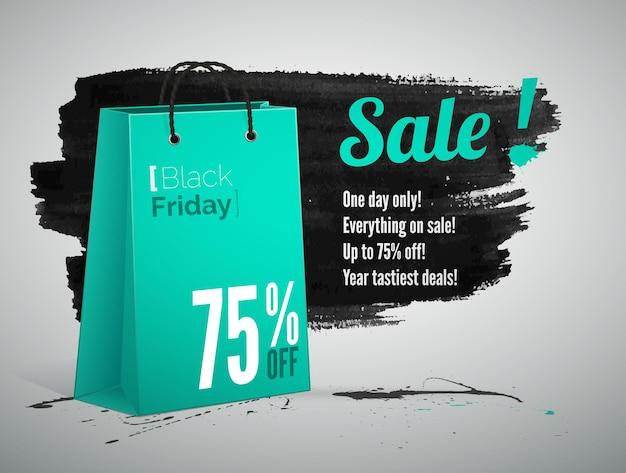 Modello realistico dell'insegna di vettore della pubblicità di vendita di black friday. annuncio offerte e sconti. memorizza il testo promozionale delle offerte speciali sulla borsa della spesa 3d