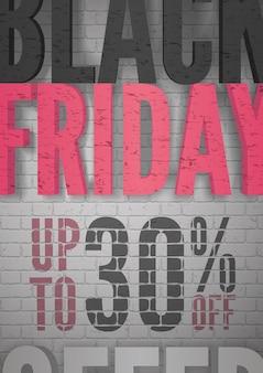 Fondo realistico di vettore dell'annuncio di vendita di black friday. shopping fino al 30% di sconto sugli sconti. promozione offerte speciali. i prezzi stagionali riducono il layout dei banner pubblicitari