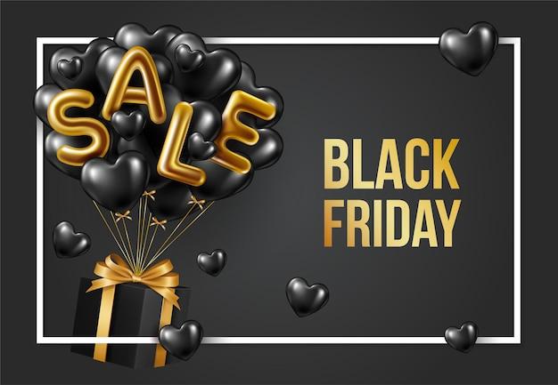 Sfondo di vendita venerdì nero con palloncini. design moderno.