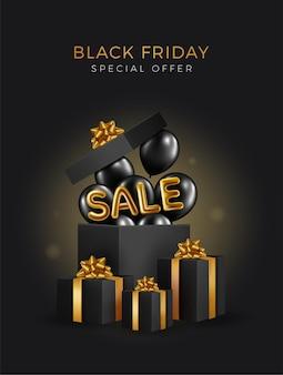 Sfondo di vendita venerdì nero con confezione regalo e palloncini balloon