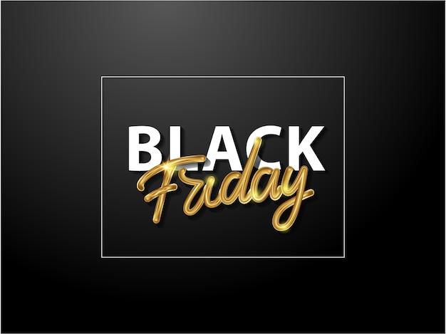 Sfondo di vendita del black friday con lettere maiuscole d'oro. lettering su uno sfondo scuro. lettere dorate lucide.