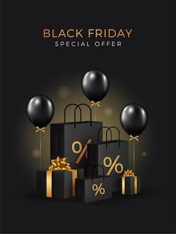 Sfondo di vendita venerdì nero con palloncini realistici trasparenti. design moderno.