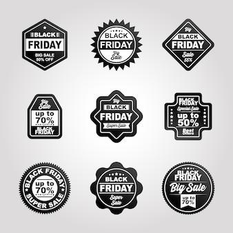I distintivi di vendita del venerdì nero sono in bianco e nero