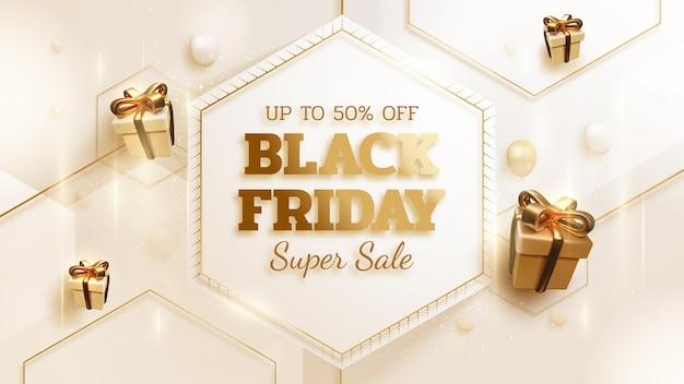Fondo dell'insegna di vendita del black friday con la scatola regalo realistica con il lusso dell'oro del nastro. illustrazione vettoriale 3d.